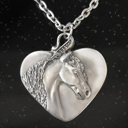 Friesian Horse Heart Necklace